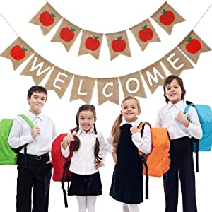 Welcome Banner and Apples Banner Garland for First Day of School Classroom Decorations Photo Prop Photo Booth Backdrop (Color 2)