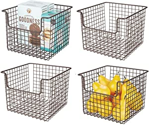 mDesign Metal Wire Open Front Organizer Basket for Kitchen Pantry, Cabinet, Shelf - Holds Canned Goods, Baking Supplies, Boxed Food Mixes, Fruits, Vegetables, Snacks - 4 Pack - Bronze