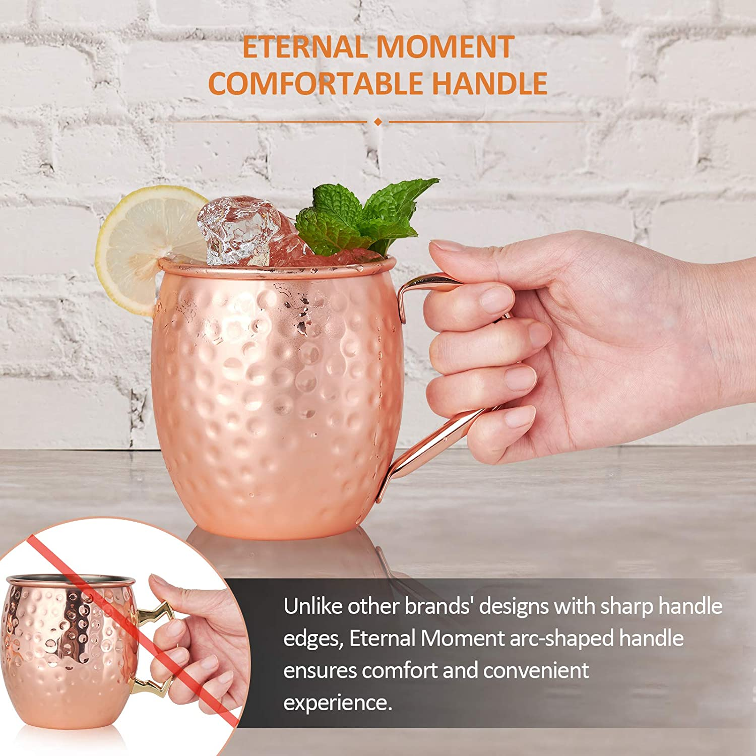 Stirring Spoon Bar Set Copper Moscow Mule Mugs Set of 4 Cocktail Shot Glass and Gift Box for Beer Eternal Moment Hand Hammered Copper Mugs 16 oz with BONUS: Copper Straws