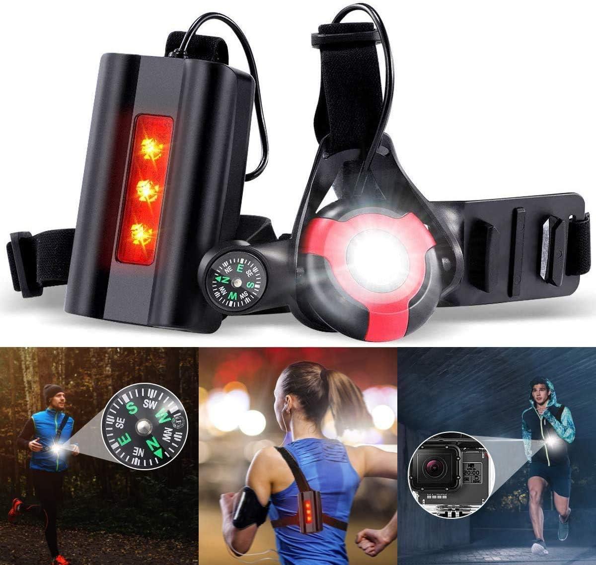 Luz del pecho Liviano Luz Led Frontal Correr con Recargables USB Impermeable Luz para Correr Running con Cinta reflectante Competir L/ámpara 3 Modos 1000 L/úmenes C/ómodo e Ideal para Trotar