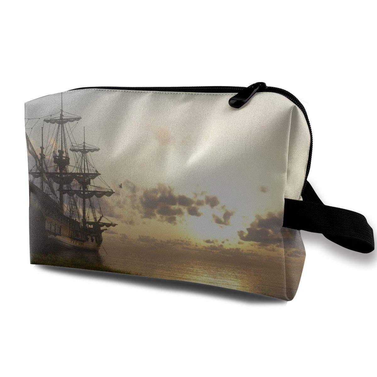 Mikonsu Fantasy Ship Sail Boat in Lake Sunset Makeup Bag Cosmetic Beauty Bag Travel Handy Organizer Pouch