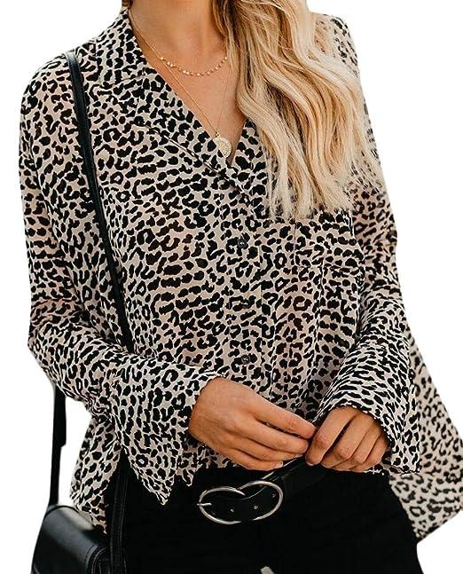 8954bb3fb623b4 Security Womens Bell Sleeve Blouse Tops Casual Leopard Print Button Down  Shirts Khaki M