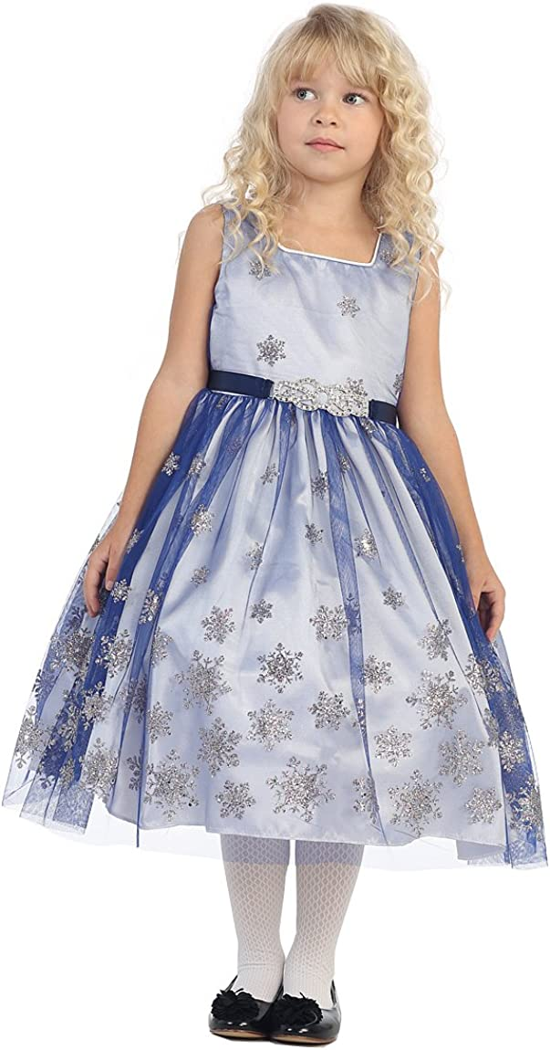 Angels Garment Big Girls Royal Blue Brooch Snowflake Christmas Dress 7-12