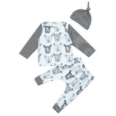 GSHOOTS Baby Boy Girl Leopard Striped Cotton T-Shirt + Pants + Hat 3 Piece Clothes Set
