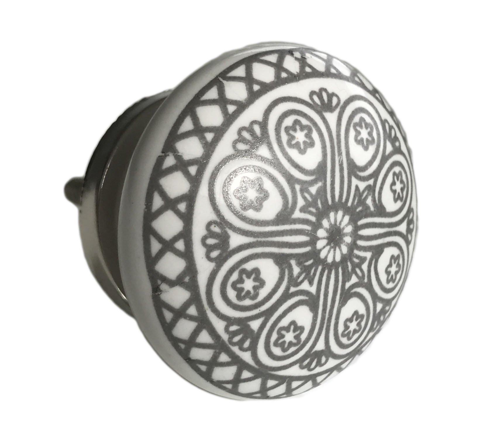 Grey Wheel Flat Knob Drawer Pull, Cabinet Pull, Dresser Knobs - Pack of 12