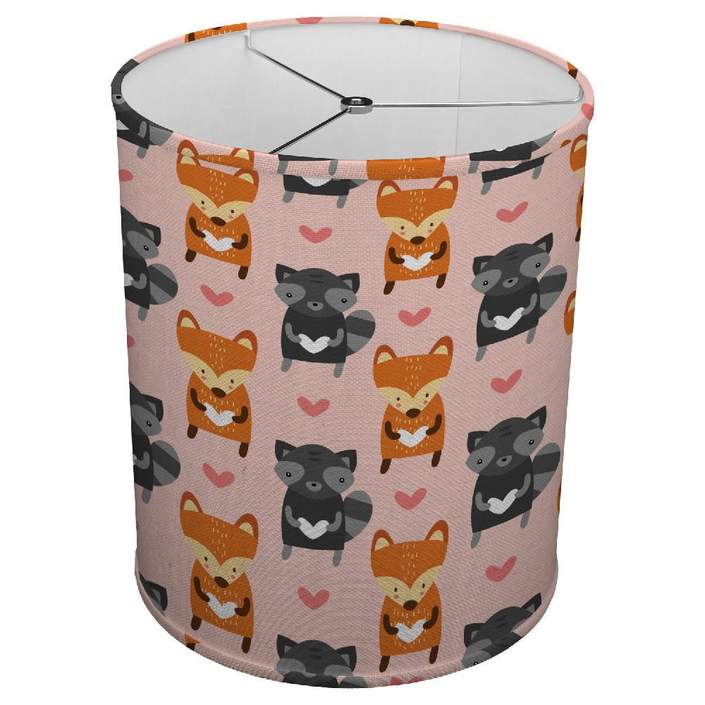 Hardback Linen Drum Cylinder Lamp Shade 8'' x 8'' x11'' Spider Construction [ Fox Grey Orange Animal ]