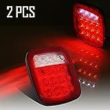 Partsam 2x Universal 16 LED Stop Tail Turn Signal Backup Reverse Brake Clearance Marker Lights Lamps Red / White for Truck Trailer Jeep YJ TJ JK CJ Waterproof 12V