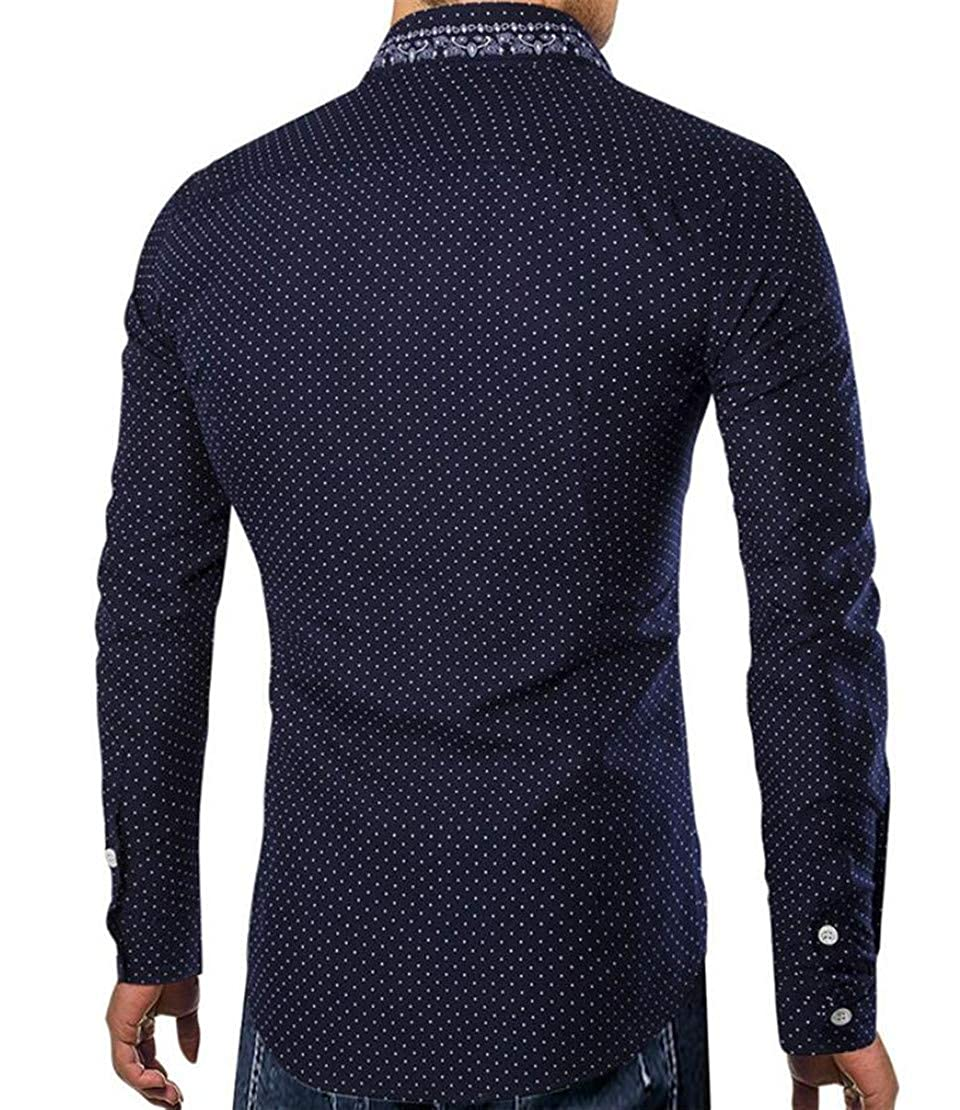 Hurrg Mens Classic Button Up Polka Dot Long Sleeve Business Dress Shirts