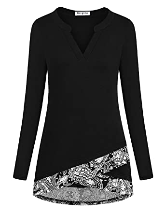 240d0b44816077 Becanbe Women s Tops Long Sleeve Scoop Neck High Low Hem A-Line Tunic Blouse