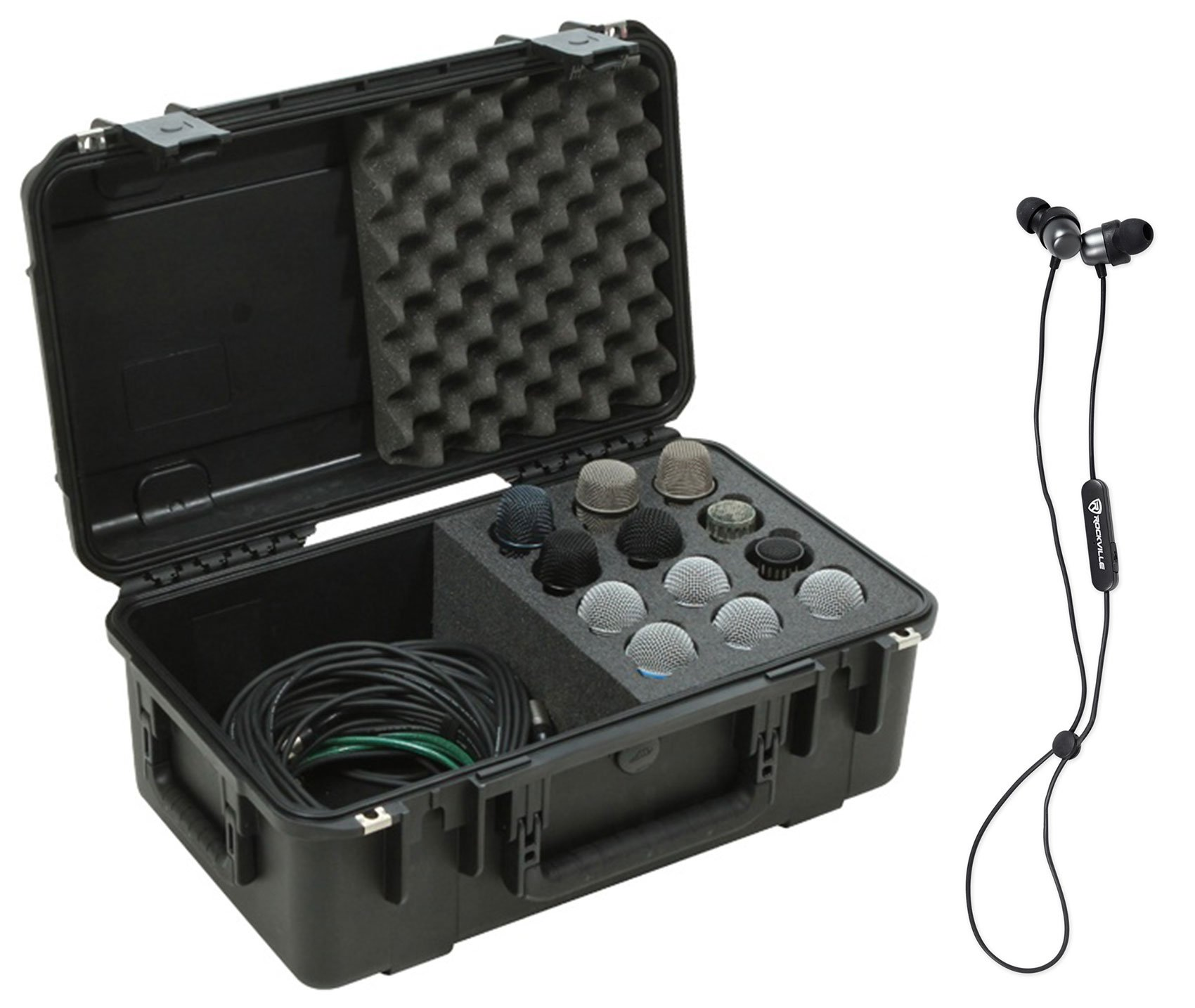 SKB 3i-2011-MC12 Hard Case w/Foam for (12) Microphones+Storage+Bluetooth EarBuds