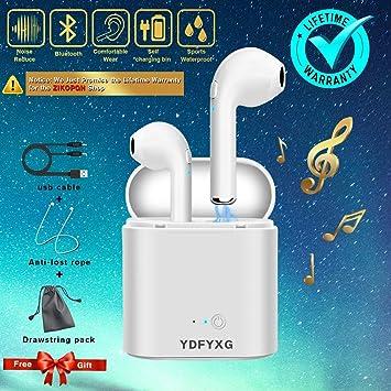 Auriculares Bluetooth, auriculares inalámbricos con micrófono (Blanco): Amazon.es: Electrónica
