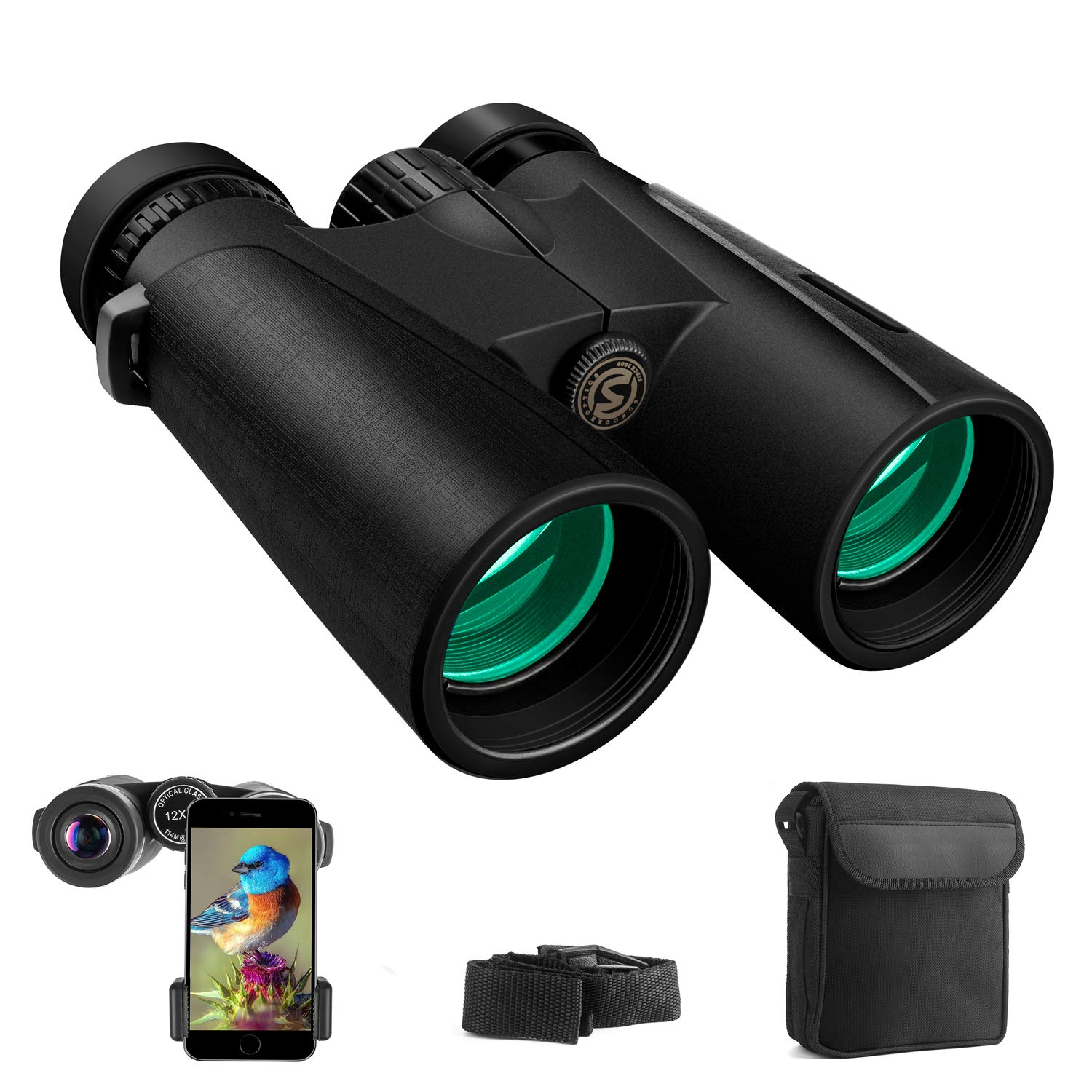 Cayzor 12x42 Binoculars for Adults Compact HD Clear Weak Light Vision Bird Watching - Professional for Travel Stargazing Hunting Concerts Sports - BAK4 Prism FMC Lens Phone Mount Strap Carrying Bag by Cayzor