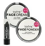 Technic Halloween Make Up Set White Foundation Cream White Powder and Matte Black Lipstick