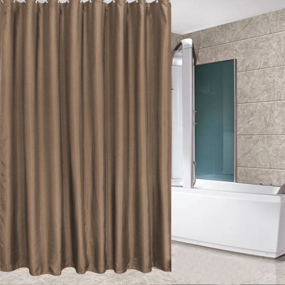 Eforcurtain Solid Brown Shower Curtains For Bathroom With Free Curtain Rings Waterproof Polyester Liner Mildew Resistant Stall Extra Long 54
