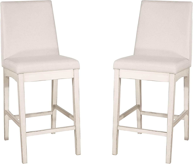 Hillsdale Furniture Hillsdale Clarion Parson Height, Set Of 2, Sea White Non-Swivel Counter Stool Set