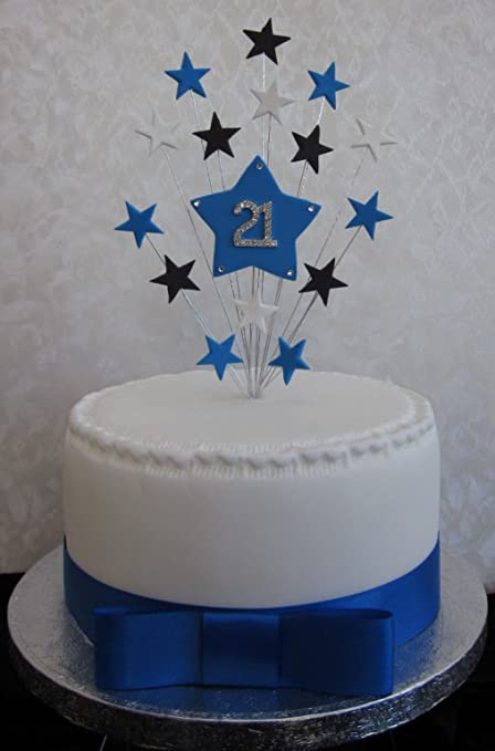 21st Birthday Cake Topper Blue Black And White Stars Suitable For A Small PLUS 1 X Metre 25mm Royal Satin Ribbon With Bow Amazoncouk Kitchen