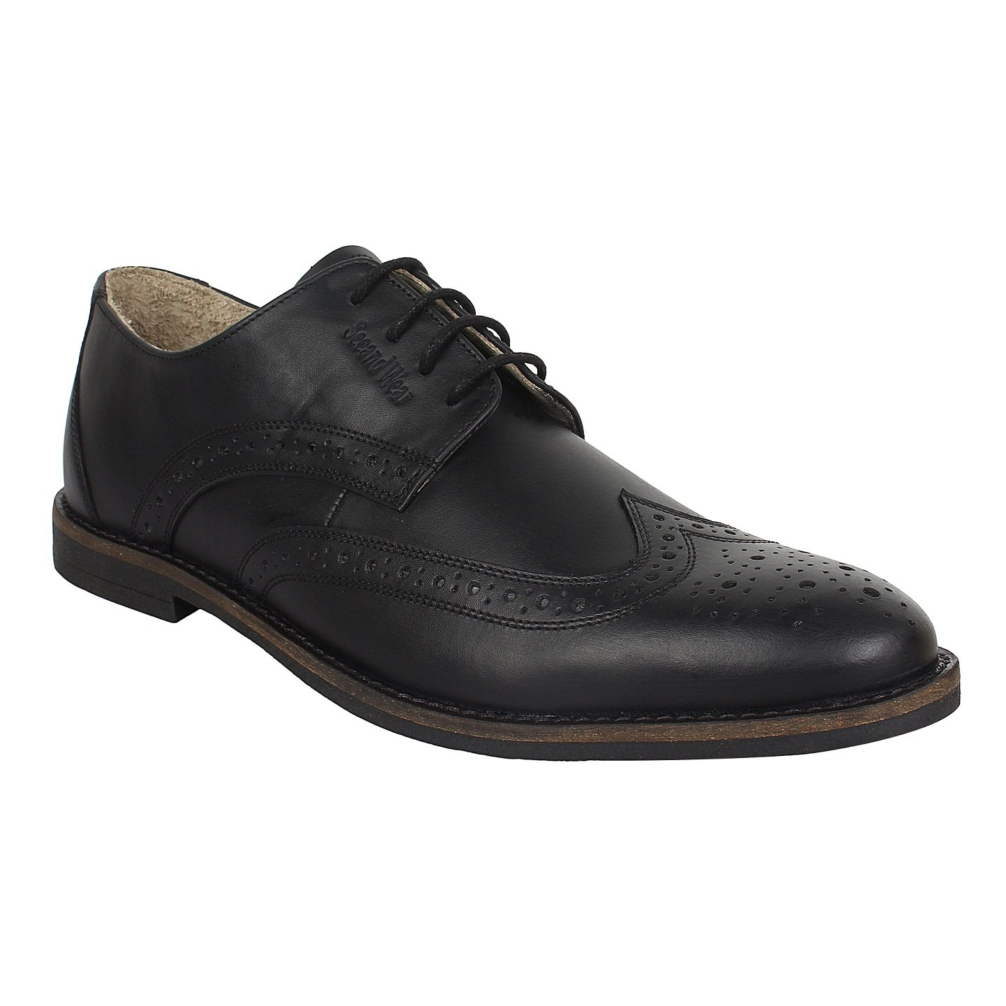 d8e2c324c1c7b SeeandWear Black Brogue Formal Shoes for Men Genuine Leather Pointed Lace  Up Shoe