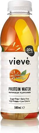 Vieve Agua con Proteína 6x500ml - Naranja y Mango. 20g de Proteína, Sin Azúcar, Sin Grasa y Sin Leche. Alternativa Lista para Beber a los Polvos y ...