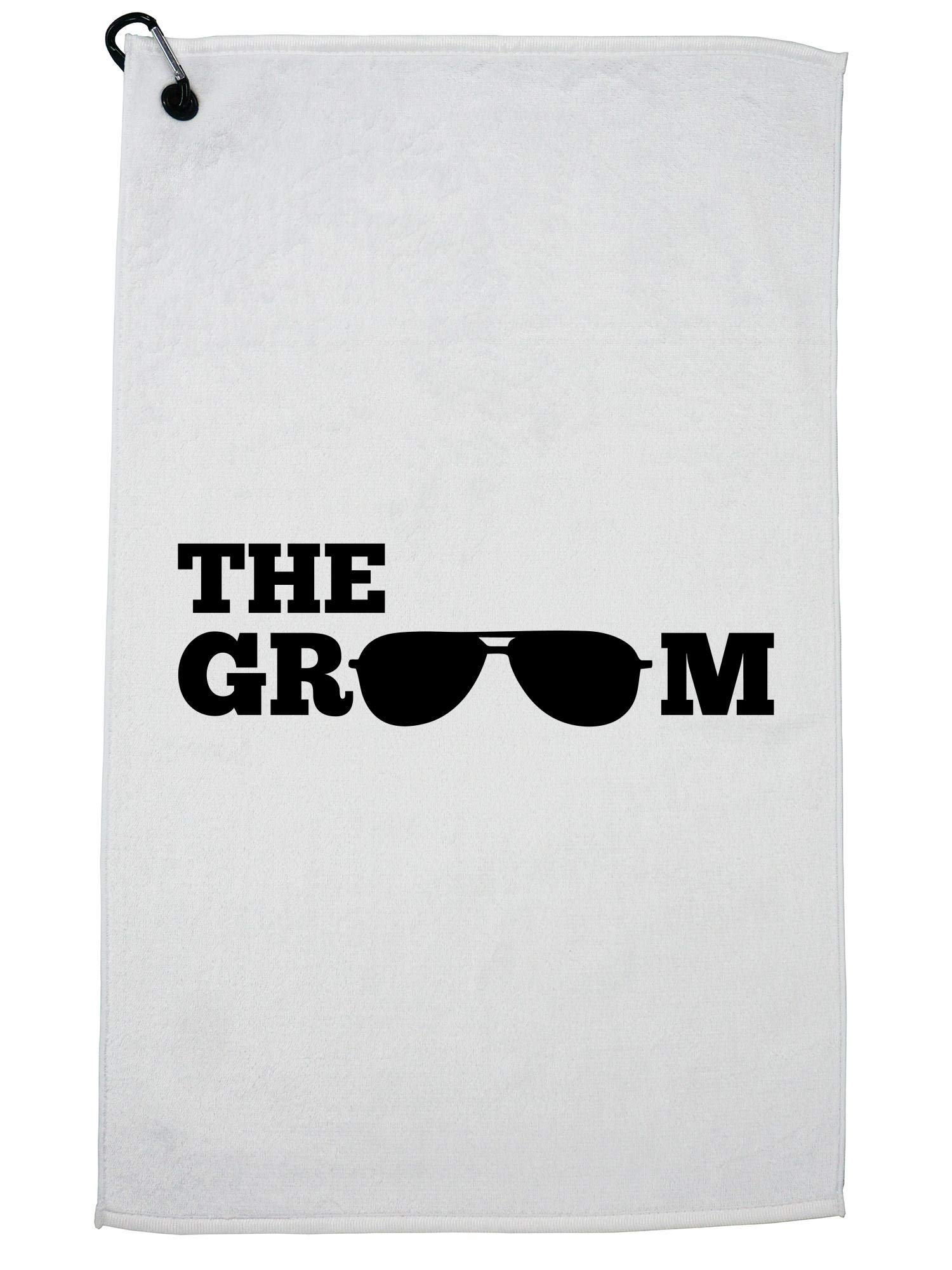 Hollywood Thread Bachelor Party The Groom Aviators Graphic Golf Towel with Carabiner Clip