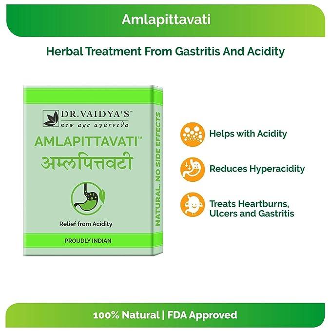 Dr  Vaidya's Amlapittavati Ayurvedic Pills For Acidity - 24 Pills (Pack of  3)
