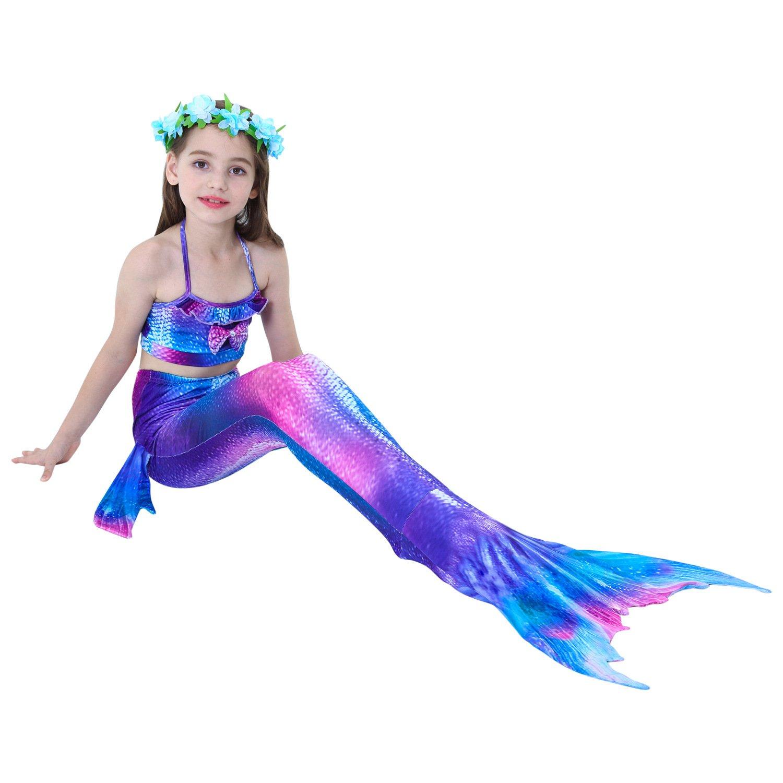 Hejin Cola de Sirena con ala Ideal para Nadar para Ni/ños