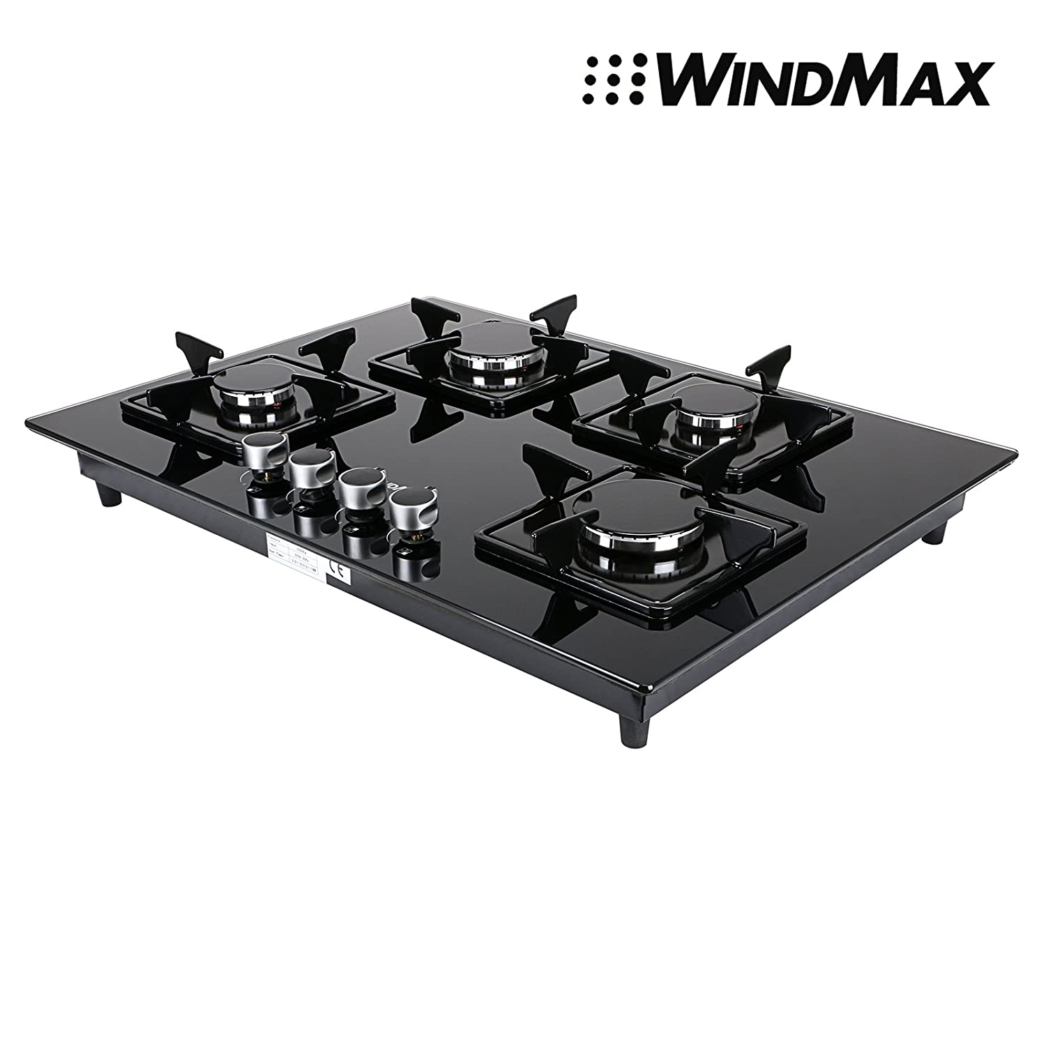 Euro Style 28' Black Glass 4 Burner Built-In Stove NG Natural Gas Cooktop Cooker WindMax® MQ740-G002S