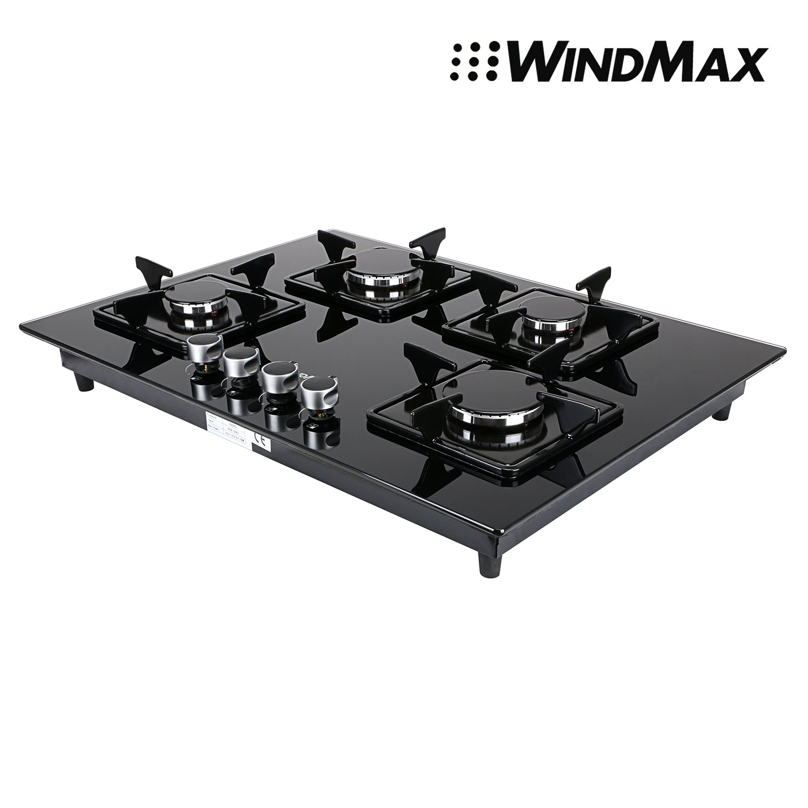 Euro Style 28'' Black Glass 4 Burner Built-In Stove NG Natural Gas Cooktop Cooker by WindMax
