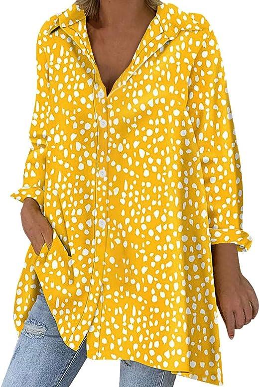 ღLILICATღ Mujer Blusa Cuello En V Camiseta de Mangas Largas Impresión de Lunares Camisa con Botones Size S-3XL: Amazon.es: Hogar