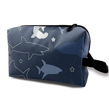 84aff5005428 Amazon.com : Receive Bag Custom Vintage Retro Shark Makeup Pouch ...