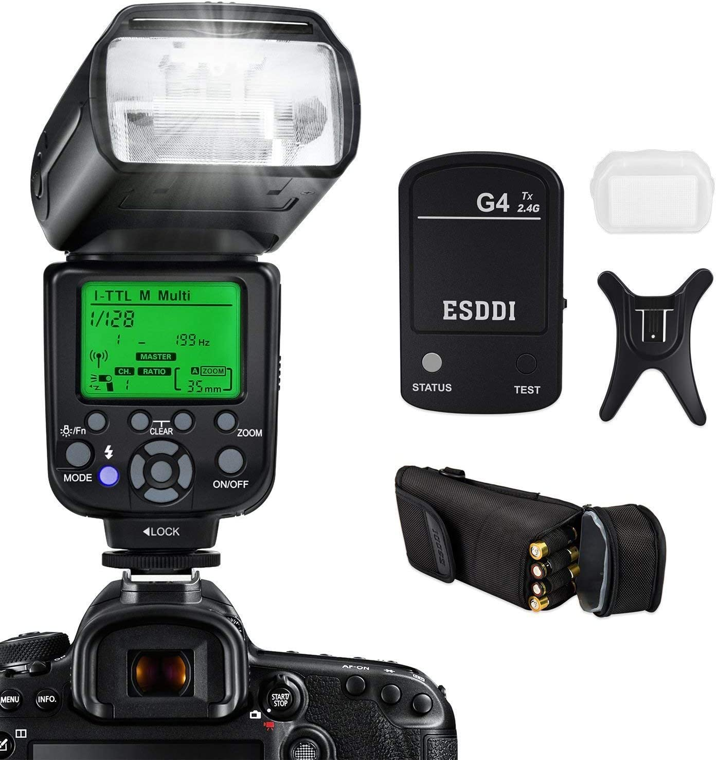 I-TTL 1//8000 HSS GN58 Camera Flash for Nikon DSLR Camera Multi ESDDI Wireless Camera Flash Set Include 2.4G Wireless Flash Trigger Cold Shoe Base Bracket and Accessories