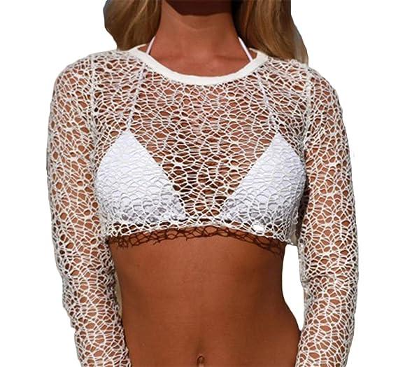 612afe5fa23 FAROOT Women Sheer Mesh Bikini Cover up Long Sleeve Summer Crop Tops  Swimwear Swimsuit Bathing Siut Beachwear (M US 6