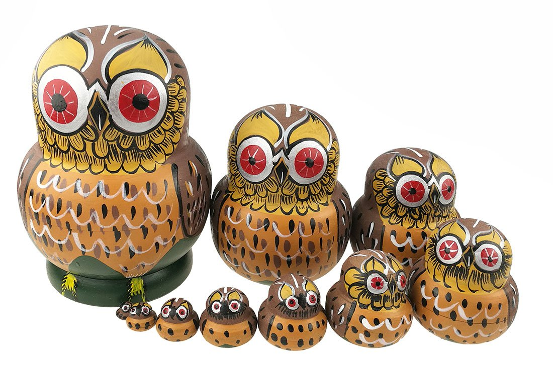 Set Of 10 Cartoon Brown Owl Handmade Wooden Russian Nesting Dolls Matryoshka Dolls For Birthday Christmas New Year Gift Home Decoration Kids Toy
