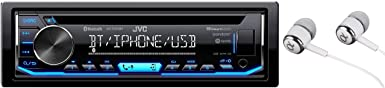 JVC KD-TD70BT Single DIN Bluetooth in-Dash CD AM FM USB Auxiliary Digital Media Car Stereo Receiver w LCD Text Display Pandora Spotify iHeartRadio iPhone Control Free ALPHASONIK Earbuds