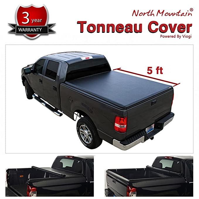 VioletLisa 1pc Black Vinyl Clamp On Soft Lock & Roll-up Top Mount Tonneau Cover Assembly w/Rails+Mounting Hardware Fit 05-15 Toyota Tacoma Pickup 5ft Fleetside Bed