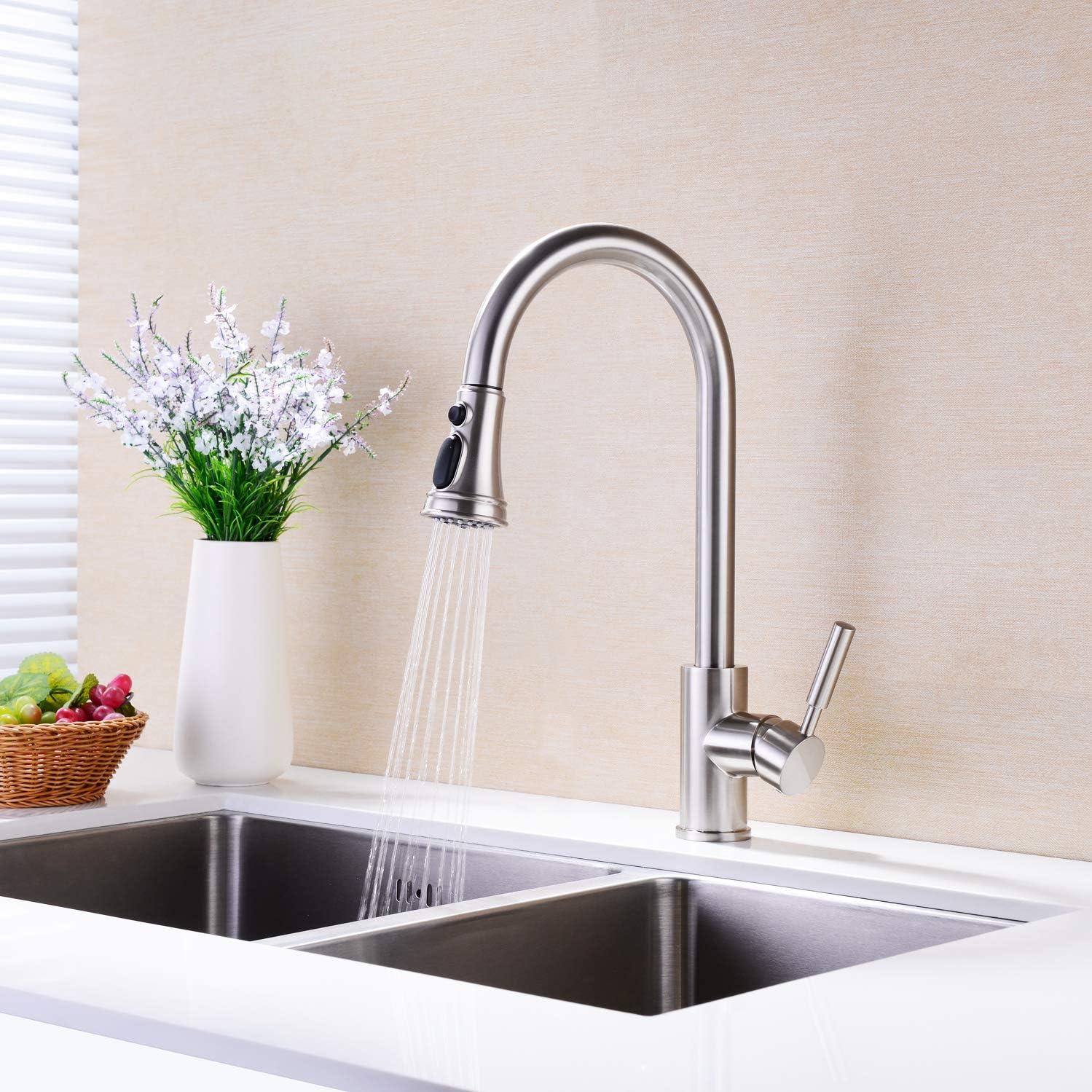 CAKIONG robinets en acier inoxydable pour /évier de cuisine /à niveau unique Robinet de cuisine /à bec r/étractable en laiton nickel/é /à monocommande /à grande arche