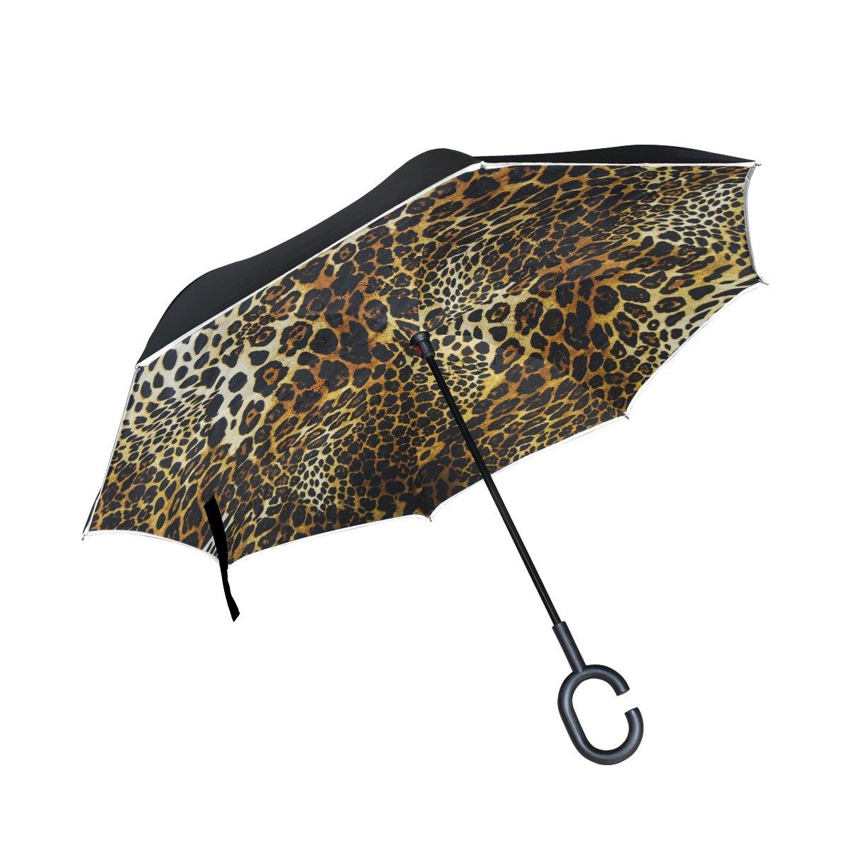 COOSUN Leopardo Piel Fondo Doble Capa Paraguas invertido Reverse Paraguas para Coche y Uso al Aire Libre Lluvia Impermeable y a Prueba de Viento UV ...