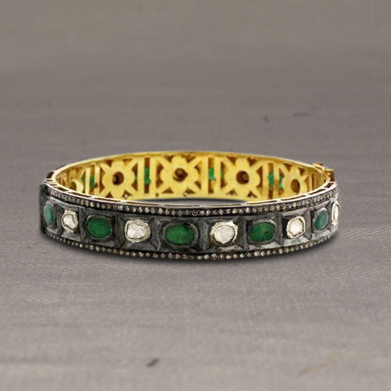 Christmas Sale Sterling Silver Pave Diamond Rose Cut Diamond Gold Bangle, Emerald Gemstone Rose Cut Diamond Bangle