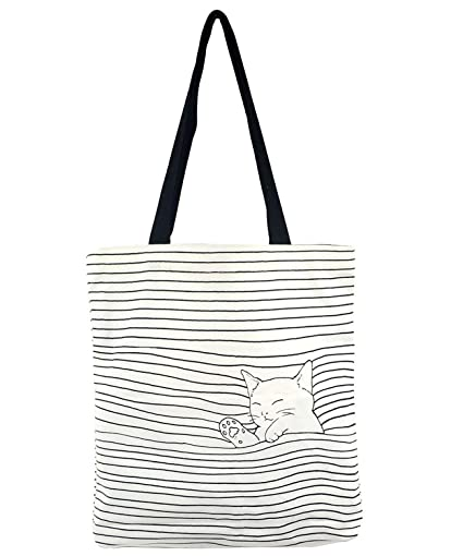 Amazon.com  POPUCT Women s Cute Cat Canvas Tote Shopping Bag(White-1)   POPUCT SHOP 867616461