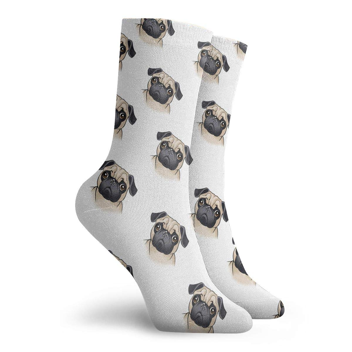Cute Pug Pattern Unisex Funny Casual Crew Socks Athletic Socks For Boys Girls Kids Teenagers