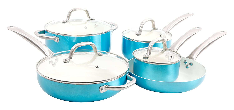 Oster 109445.09 Montecielo 9pc Aluminum Cookware Set, Metallic Turquoise