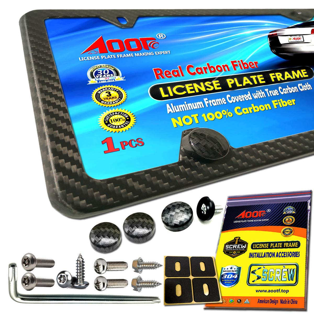 Carbon Fiber License Plate Frame- 100/% Handcrafted of Real Carbon Fiber 3K Cloth Wrap Black Aluminum Plate Frames Slim Matte 4 Hole-1 Frame Aootf . Anti Theft License Plate Screws Matching CF Screw Caps