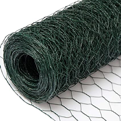 Wire Netting Fence + Metal Fence Posts | Hexagonal Chicken Wire Height 0,5m  | Mesh 25x25mm | Roll 25m | Incl 20 Fence Posts Poles Height 80cm | Green