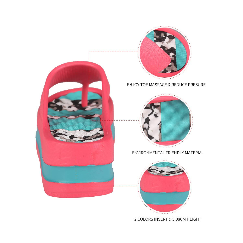 Fashion-zone Womens Lightweight High Heel Flip Flops-Comfortable Wedge Sandals-Summer High Wedge Flip Flops for Beach,Pool (7-7.5 M US, Pink)