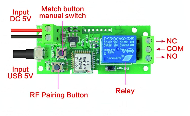 Ajuste el Tiempo de Inching desde la aplicaci/ón eWelink MHCOZY Interruptor de WiFi Inching Autobloqueante M/ódulo de Rel/é Abridor de Puerta de Garaje WIFI DIY 7-32V con RF Trabaje con Alexa Google