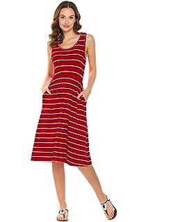 5ff7322ece708 Hount Women s Summer Sleeveless Striped Empire Waist Loose Midi Casual Dress  with Pockets