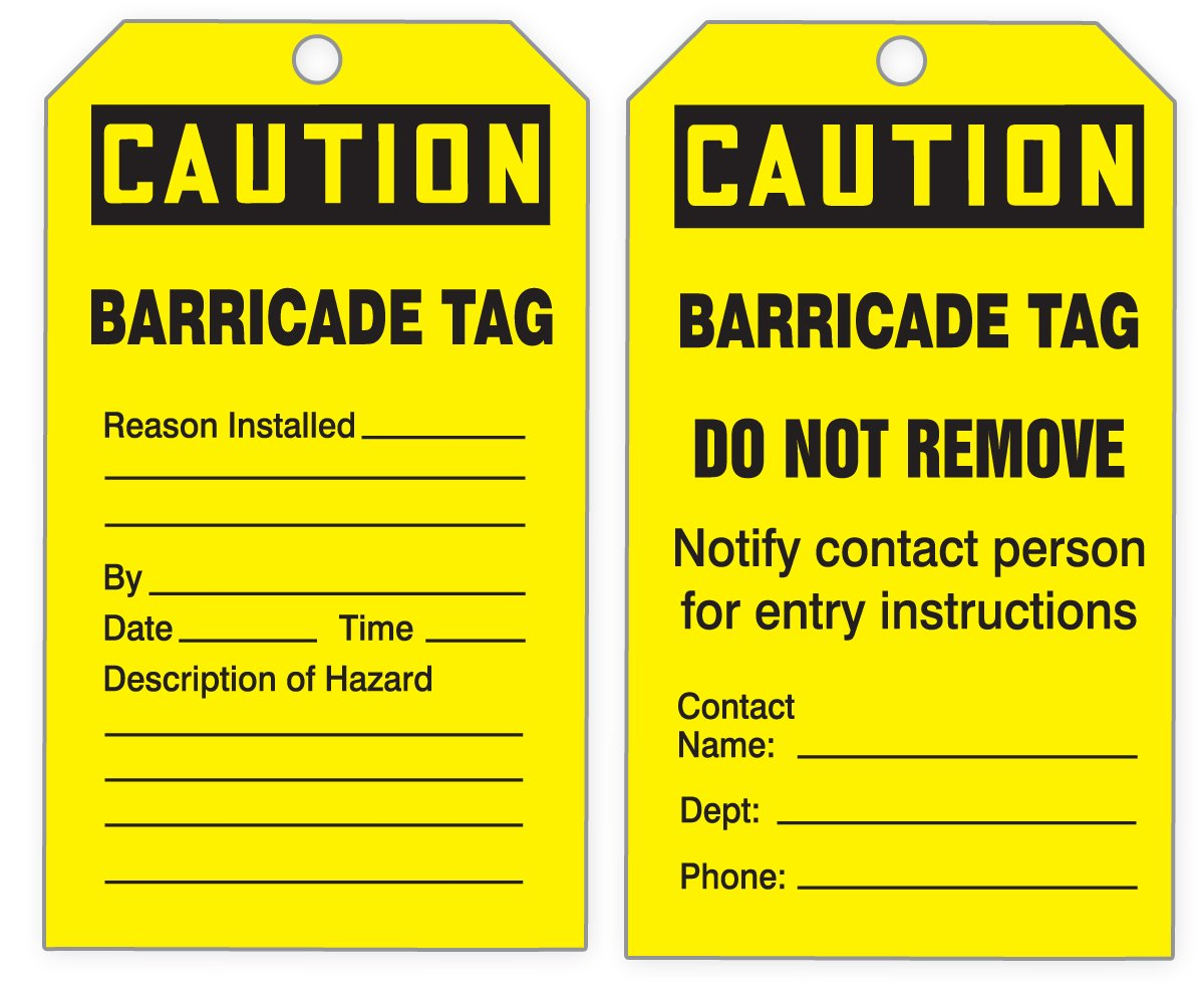 Accuform TDR395 Refill Quick Tags Inspection and Status Record Tag Dispenser, Legend''CAUTION BARRICADE TAG'', 6,25'' L x 3'' W x 0,010'' T, PF-Cardstock, Black on Yellow (Pack of 100)