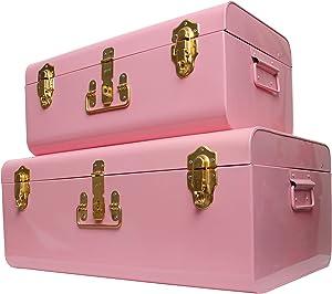 Zanzer Trunk Set - Vintage Style Storage w/Gold Finish Handles & Locks - Space Saving Organizer Home Dorm & Office Use (Pink, 2 Trunks)