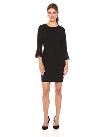 5294aadf3ab Tommy Hilfiger Women's Scuba Crepe Dress with Lace Bell Sleeve, Black, 4