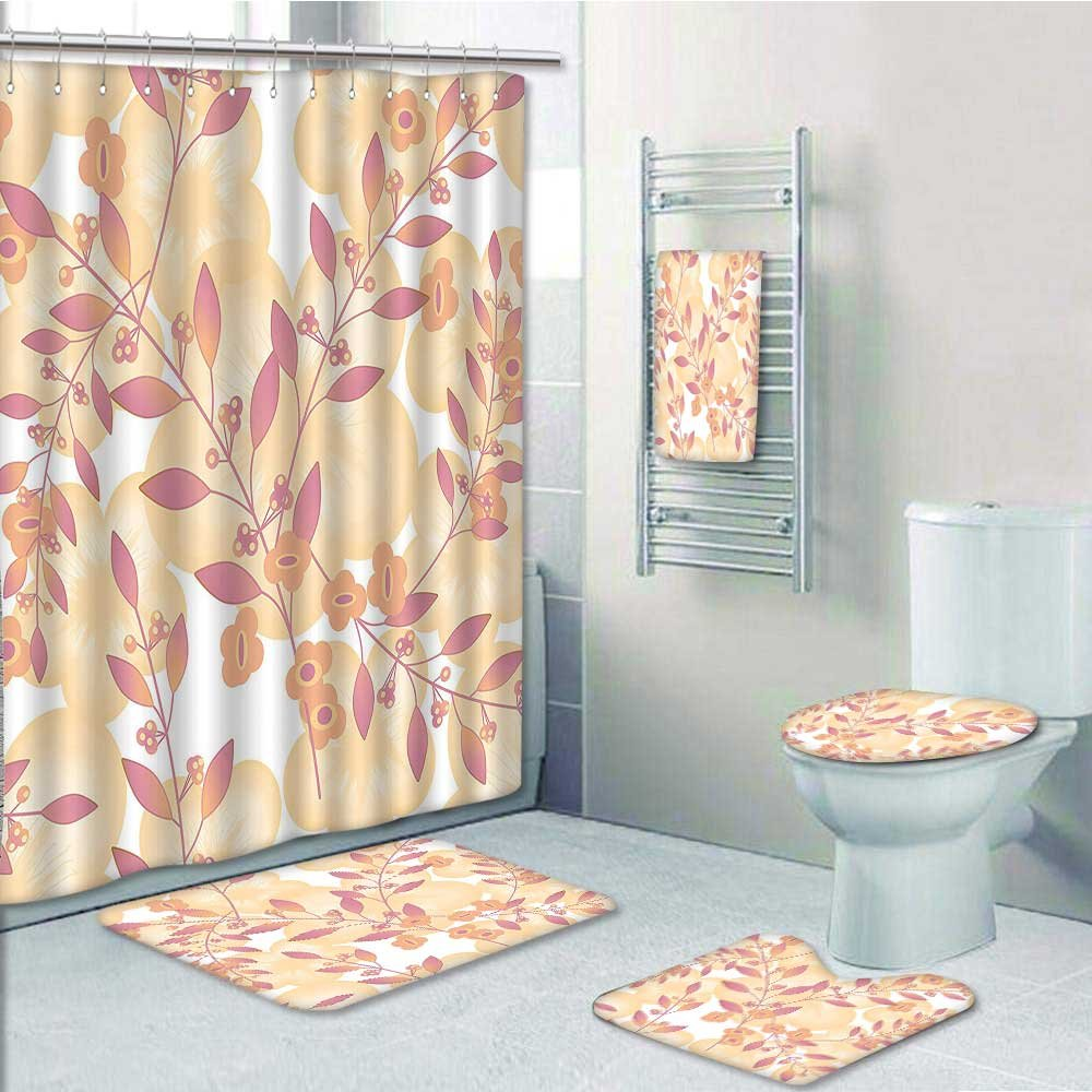 Designer Bath Polyester 5-Piece Bathroom Set, Pastel Berry Branches Repetitive Vegetative Fresh Print bathroom rugs shower curtain/rings and Both Towels(Medium size) durable modeling