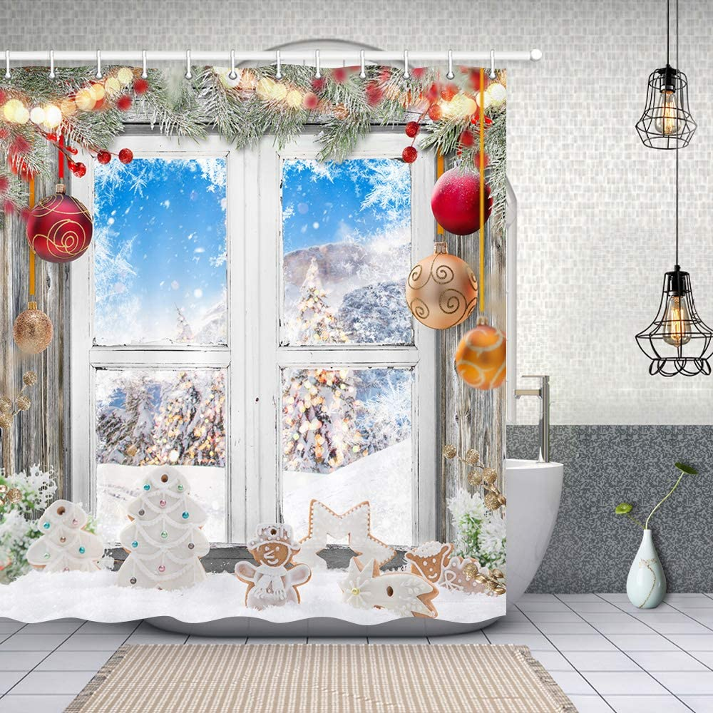 Christmas Gingerbread Man in Snow Shower Curtains, Colorful Xmas Balls in Pine Twig Fir Tree on Rustc Wooden Window, Polyester Fabric Winter Xmas Tree Shower Curtain, New Year Bathroom Accessory, 70in